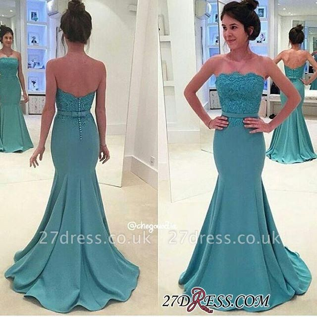 Lace Mermaid Sash Strapless Green Long Evening Gowns BA3952