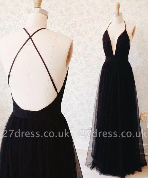 Elegant Black Sleeveless Prom Dress UK Long Tulle Floor Length BA3178