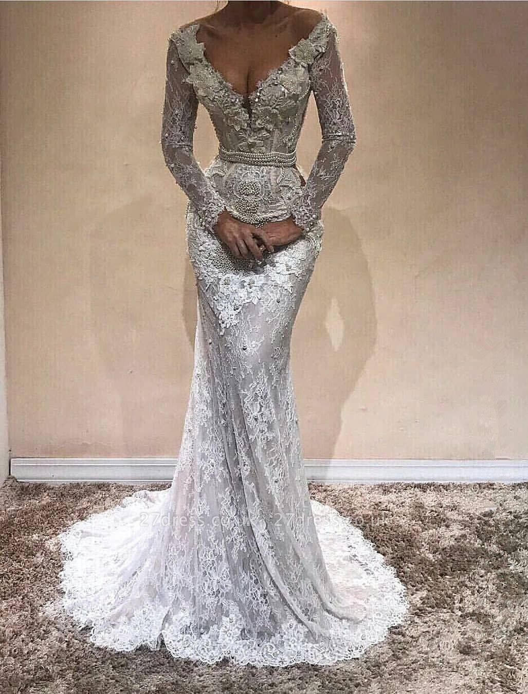 Delicate Lace Long Sleeve V-neck Sweep-Train Evening Gown   Evening Gown BA9809
