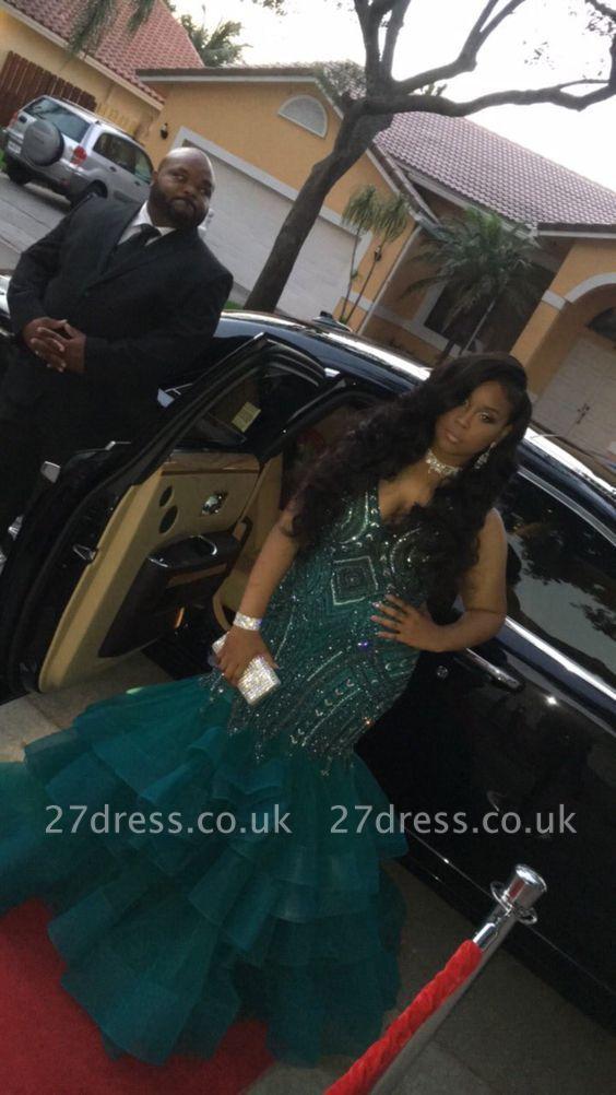 Green ruffles prom Dress UK, mermaid evening Dress UK with crystals BK0 BA9086