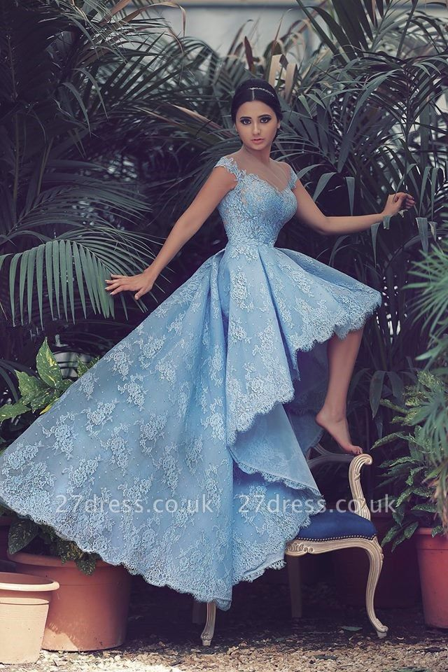 Delicate Sweetheart Hi-Lo Prom Dress UK Lace Appliques Sweep Train