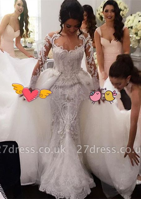 Elegant Long Sleeve Lace Wedding Dress Ruffles Overskirt