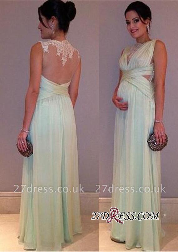 Lace Sleeveless Sexy A-line Maternity Long Chiffon Prom Dress UK