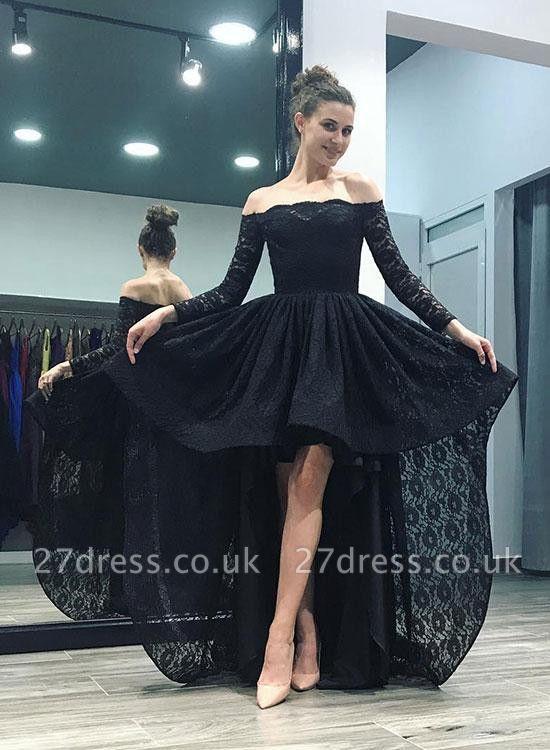 Elegant Black Lace Hi-Lo Prom Dress UK Long Sleeve Party Gowns