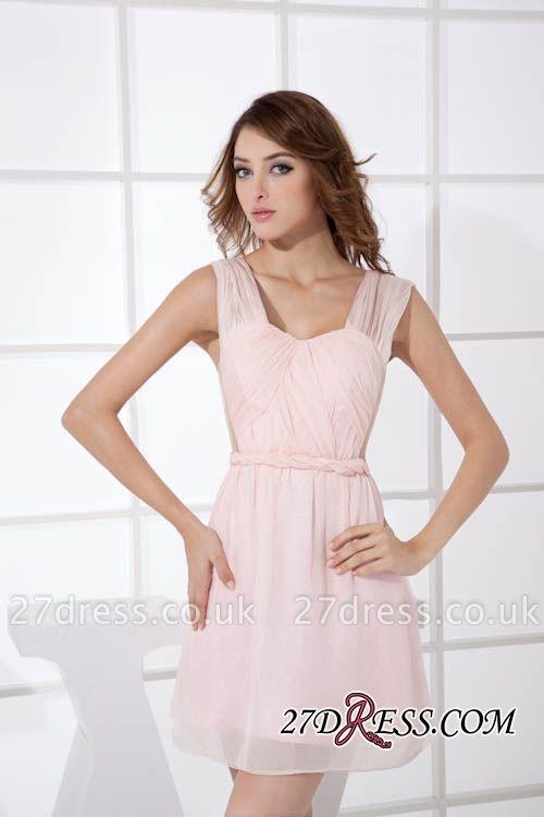 Sleeveless Straps Short Chiffon Sexy Pink Open-Back Elegant Bridesmaid Dress UKes UK