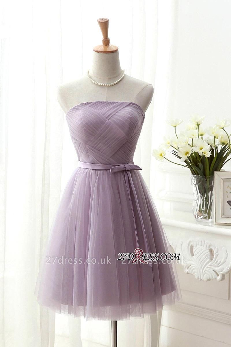 Short Romantic Strapless Ruched-Top With Sash Homecoming Dress UKes UK