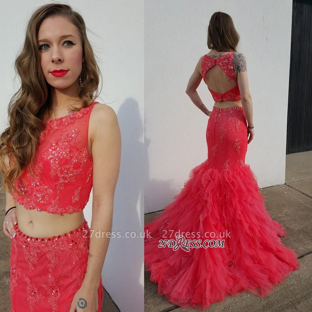 Open-Back Pieces Beadings Mermaid Appliques Tulle Two Red Prom Dress UK