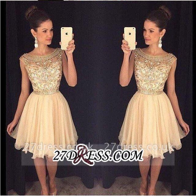 Luxury Gold Capped-Sleeves Beaded Bateau-Neck Short Homecoming Dress UKes UK AP0