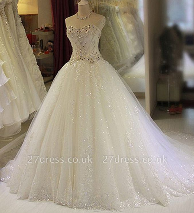 New Arrival Beaded Wedding Dresses UK Sweetheart Sleeveless Lace Appliques Bridal Dresses