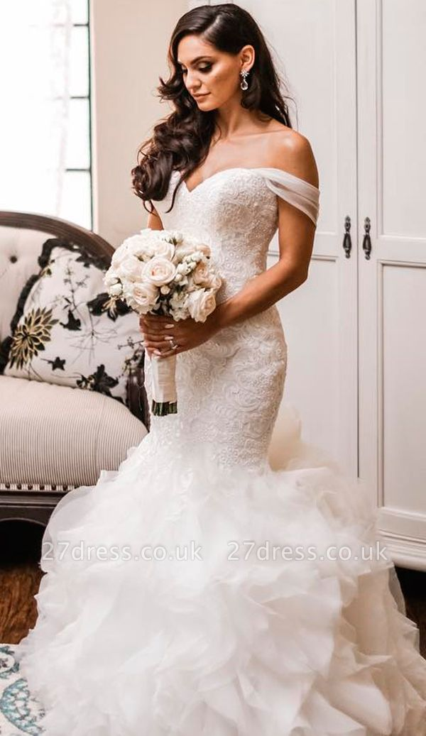 Off The Shoulder Puffy Ruffles Wedding Dresses UK Cheap Sheath Tulle Lace Bridal Gowns