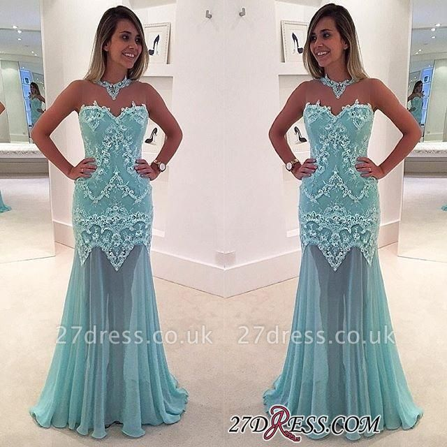 Elegant Appliques Sweep-Train High-Neck Mermaid Sleeveless Lace Prom Dress UK