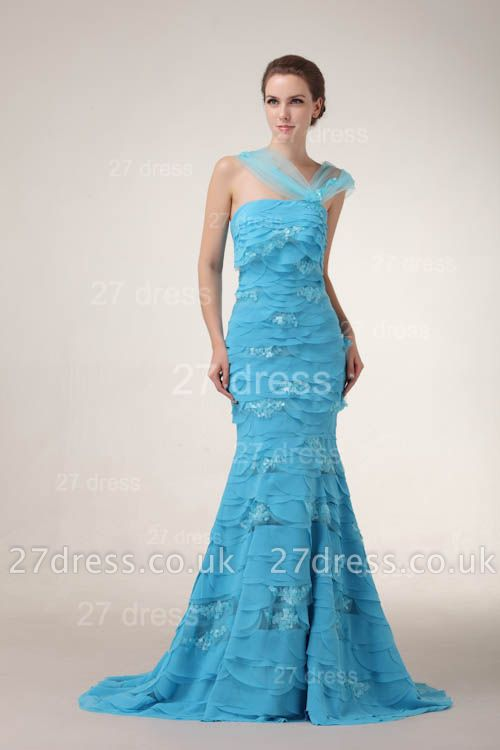 Luxury Blue Evening Dress UKes UK Tiered Sequined Mermaid Prom Gowns