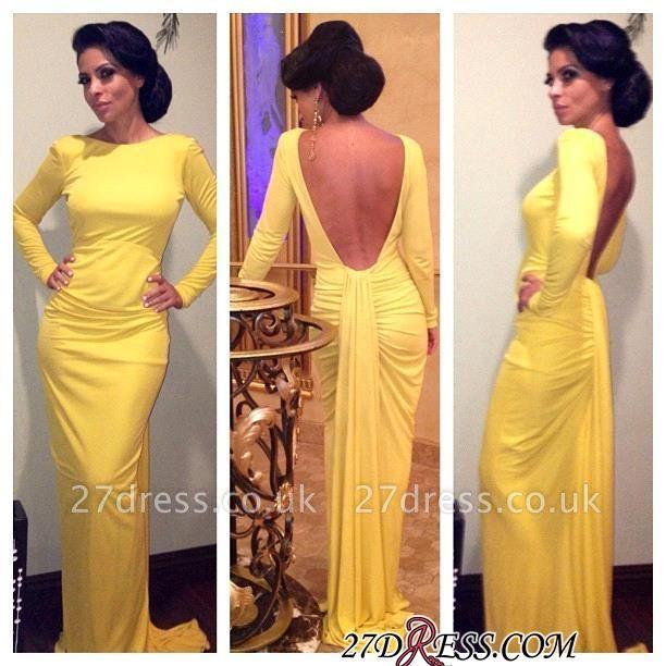 Sheath Long-Sleeve Open-Back Ruched Yellow Evening Dress UK