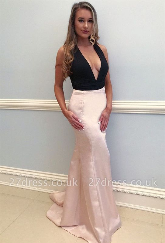 Sexy V-Neck Pink Prom Dress UK | Mermaid Evening Gowns