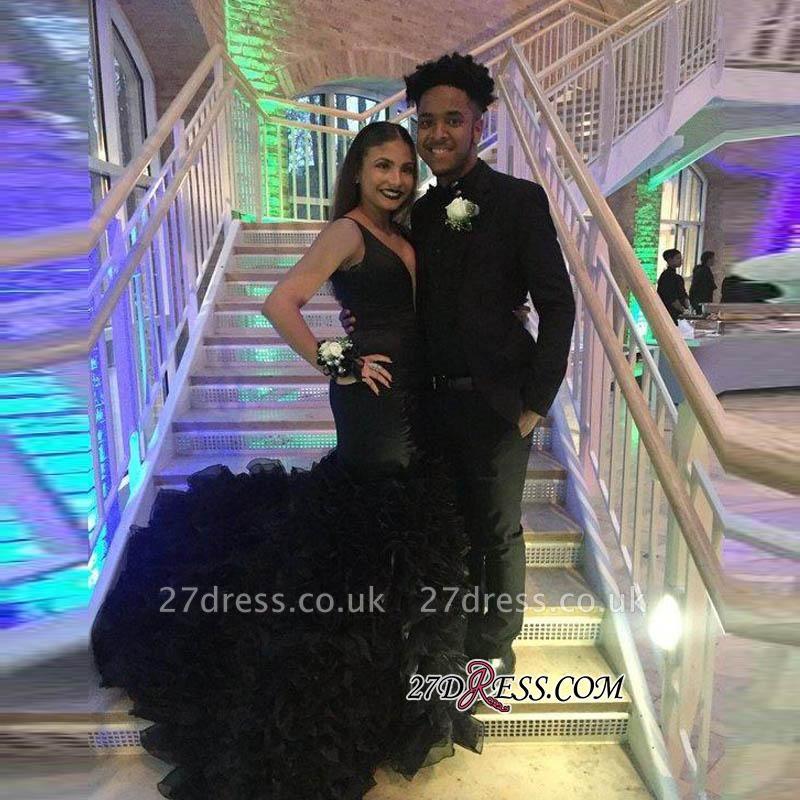 Deep-V-Neck Black Elegant Sleeveless Mermaid Prom Dress UK BK0