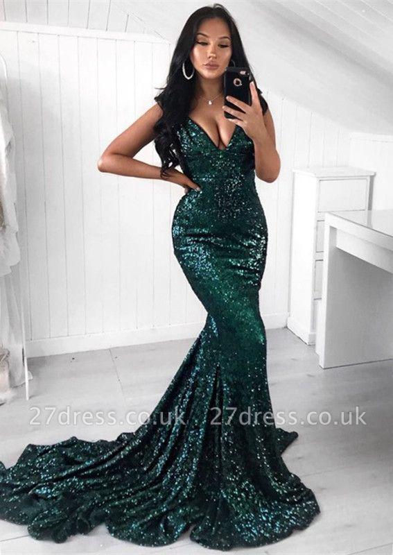 Green Sequins Prom Dress UK | Mermaid Evening Party Dress UK