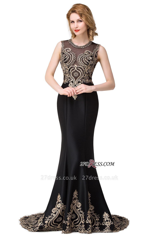 Scoop Sleeveless New Mermaid Appliques Black Prom Dress UK