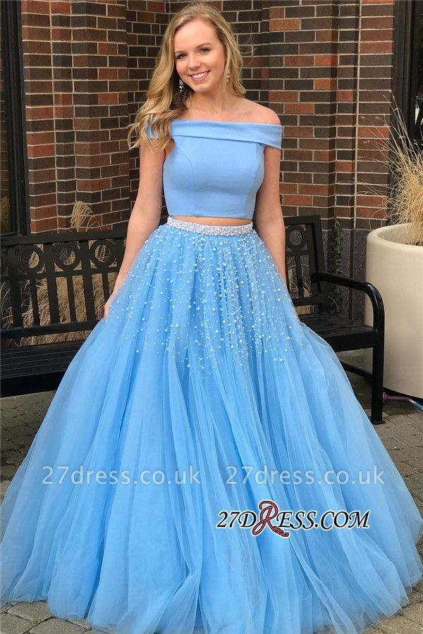 Blue Two-Piece Prom Dress UK | Off-The-Shoulder Tulle Evening Dress UKes UK With Beads BA9646