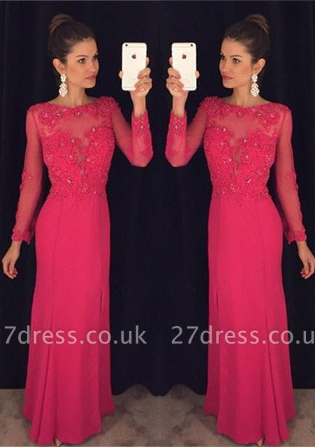 Sexy Long Sleeve Red Chiffon Prom Dress UK Lace Appliques Sequins AP0