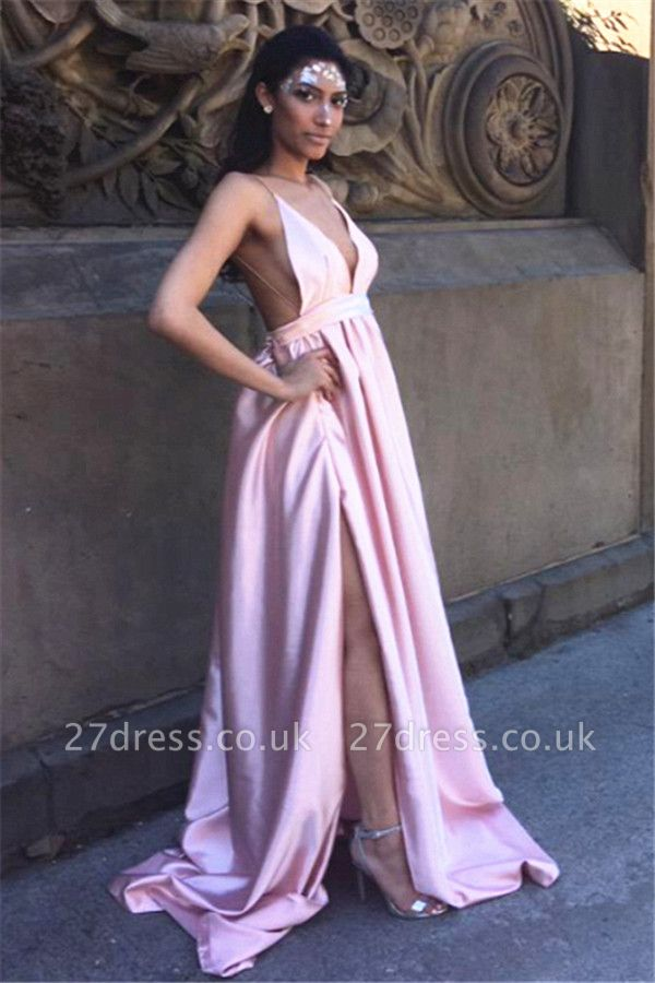 Charming Split Pink Long Prom Dress UK Spaghetti Straps Backless BA3533