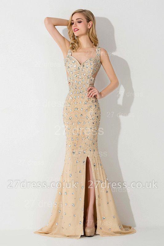 Elegant Straps Crystals Mermaid Evening Dress UK Front Split