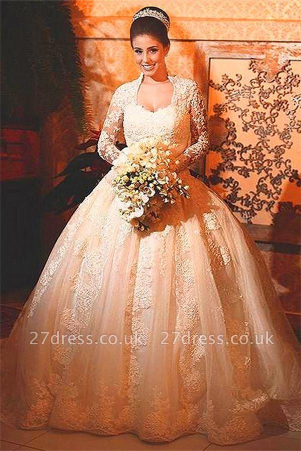 Modern Lace Long Sleeve Wedding Dress Ball Gown Button Zipper Back