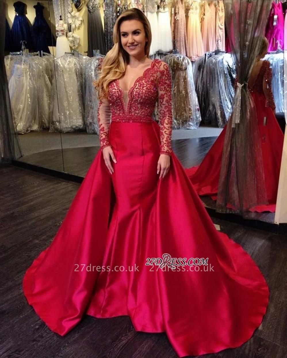 V-Neck Luxury Red Beading Mermaid Long-Sleeves Open-Back Overskirt Evening Gowns