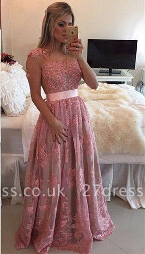 Gorgeous Lace Appliques A-line Prom Dress UK Beadings Bowknot