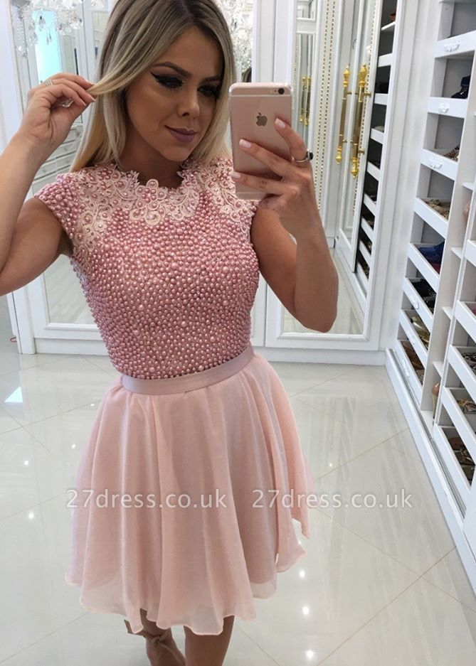 Beautiful Pink Pearls Homecoming Dress UK | 2019 Short Mini Party Dress UK