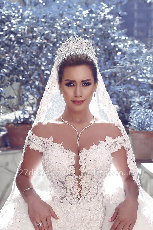 Gorgeous Off-the-Shoulder Detachable Lace Tulle Wedding Dress