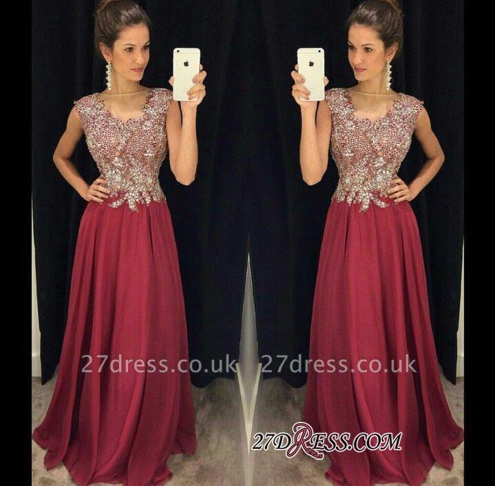 Beadings Appliques Floor-Length Sleeveless A-Line Sexy Prom Dress UKes UK