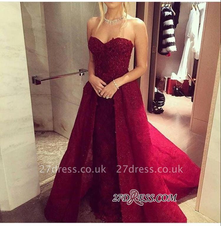 Chic Sweetheart-Neck Burgundy Overskirt Long Lace-Beaded Prom Dress UKes UK LY121