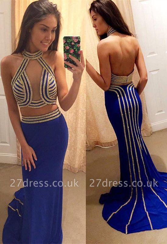 Luxury Halter Backless Mermaid Evening Dress UK Beadings Long BA7231