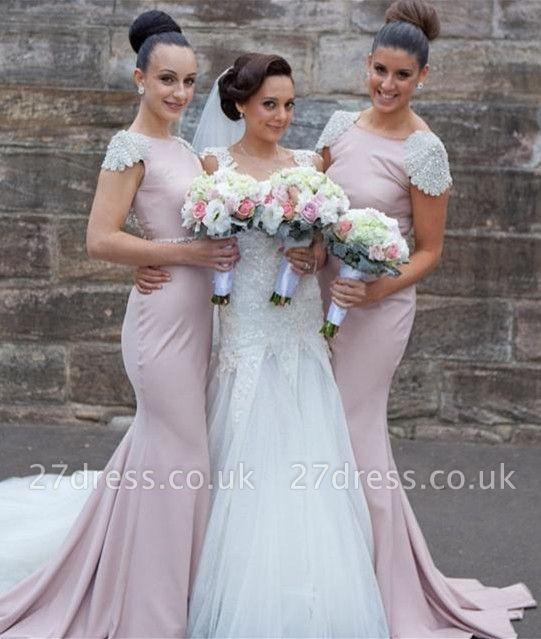 Modern Jewel Cap Sleeve Mermaid Bridesmaid Dress UK With Beadings
