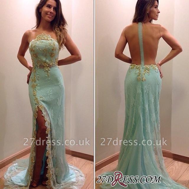 Lace Stunning Zipper Sleeveless Appliques Split Evening Dress UK