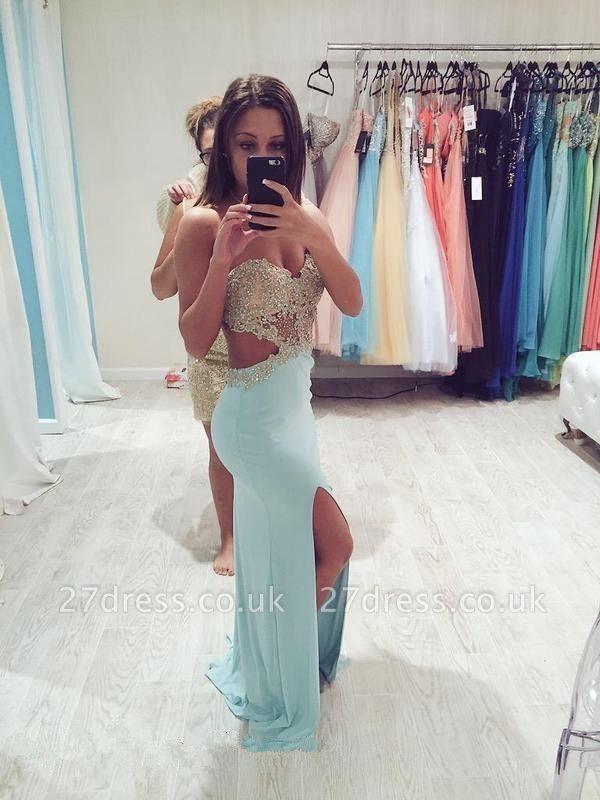 Elegant Sweetheart Sleeveless Prom Dress UK Front Split With Beadings Appliques