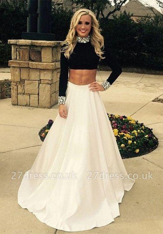 Luxury Two Pieces High Neck Prom Dress UKes UK Black and White