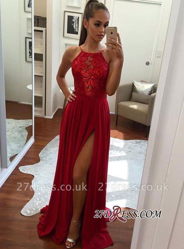 Halter Elegant Chiffon Red Split Prom Dress UK BA6877