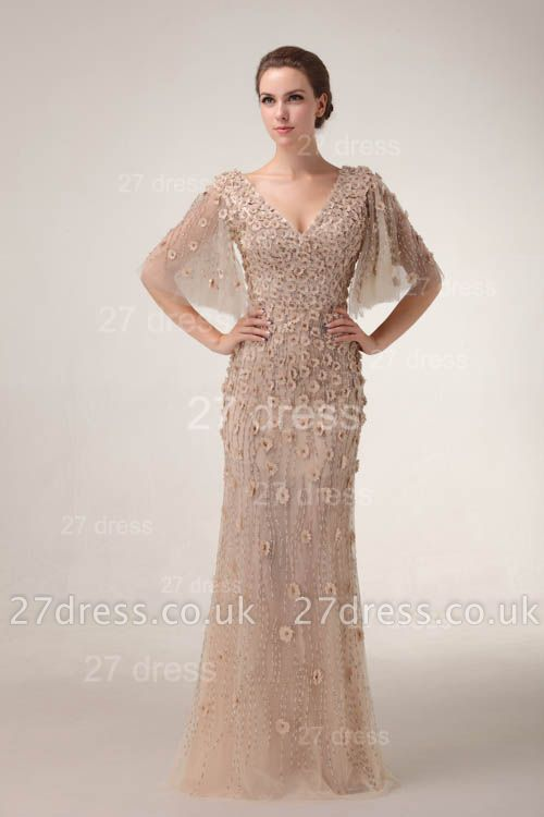 V-Neck Sheath Tulle Prom Gowns Floor Length Appliques Evening Dress UKes UK with Beadings