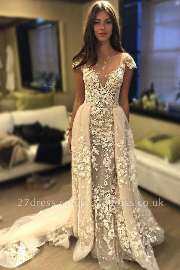 Delicate Short Sleeve Lace Appliques A-line Wedding Dress