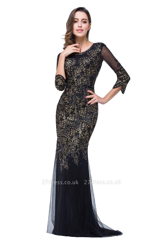 Elegant Black 3/4 Long Sleeve Mother Of the Bride Dress UK Mermaid With Appliques