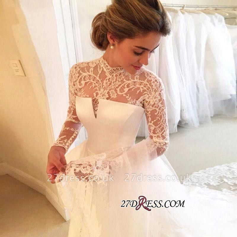High-Neck Elegant A-line Long-Sleeve Lace Zipper Wedding Dress