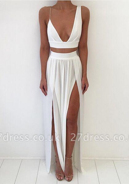 Elegant White Two Piece Prom Dress UK Front Split Floor-length