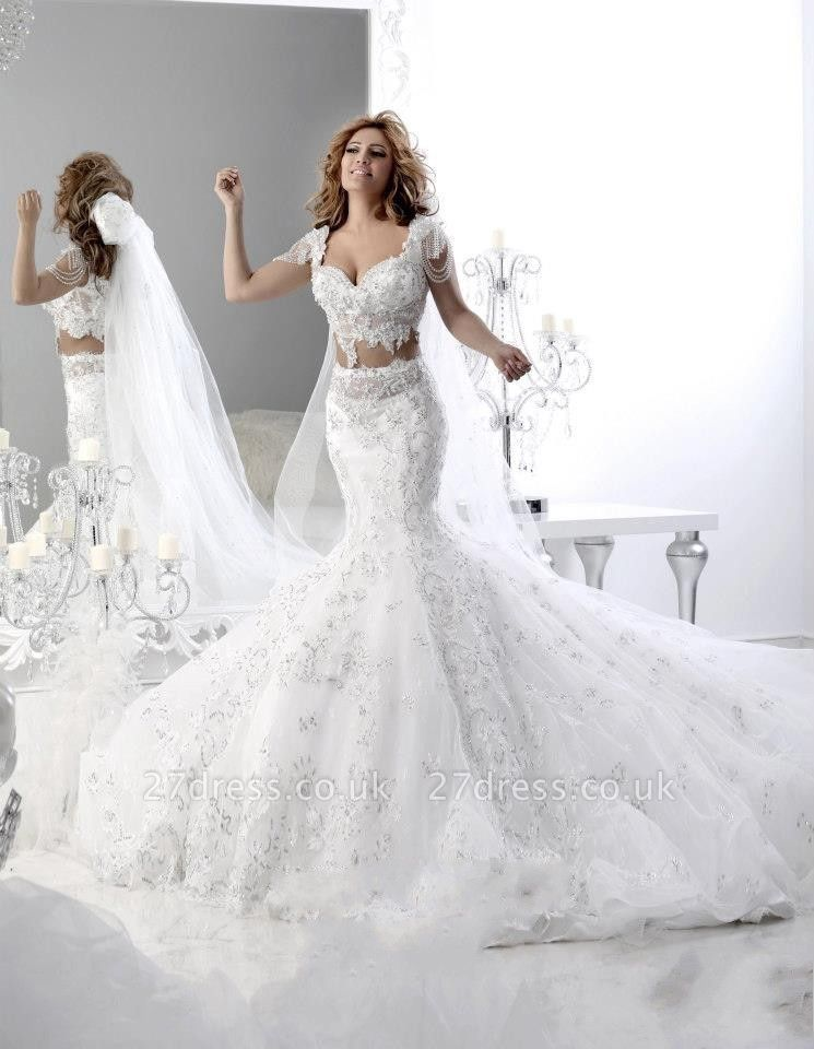 Hot Sale Cap Sleeve Arabian Sexy Mermaid Wedding Dress Lace Appliques