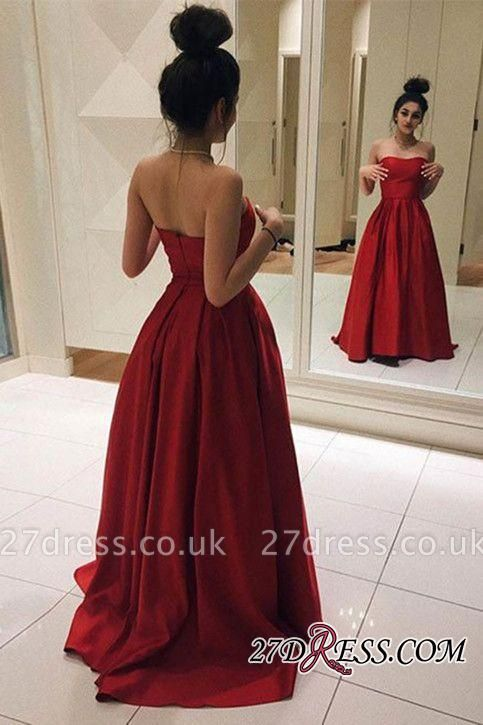 Red Floor-length A-line Sleeveless Strapless Sexy Prom Dress UK SP0320