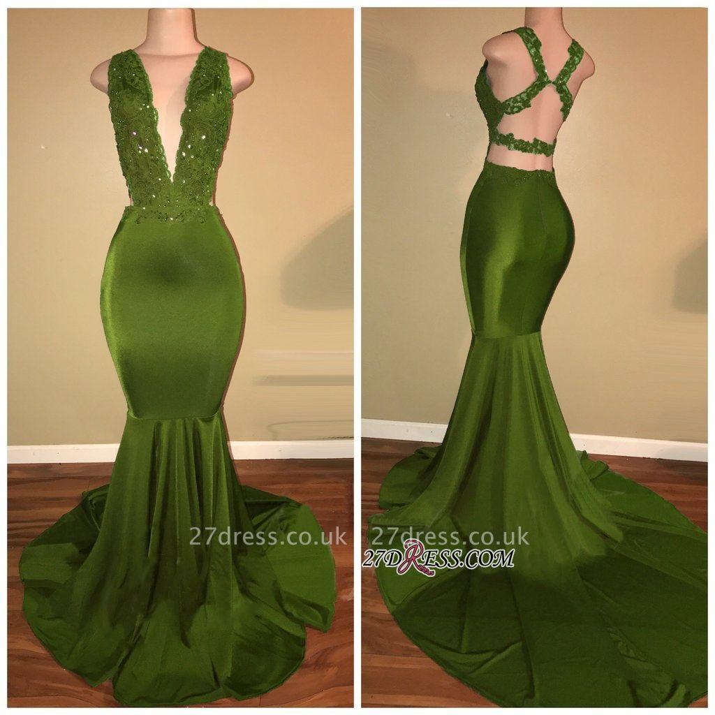 Luxury V-Neck Sleeveless Prom Dress UK Mermaid Long With Lace Appliques BA7993