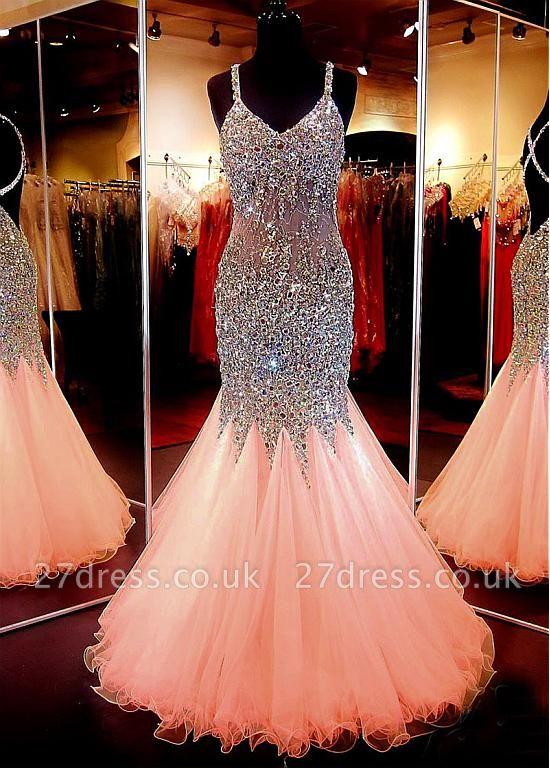 Luxury V-Neck Sleeveless Mermaid Beadings Crystal Prom Dress UK BA7545