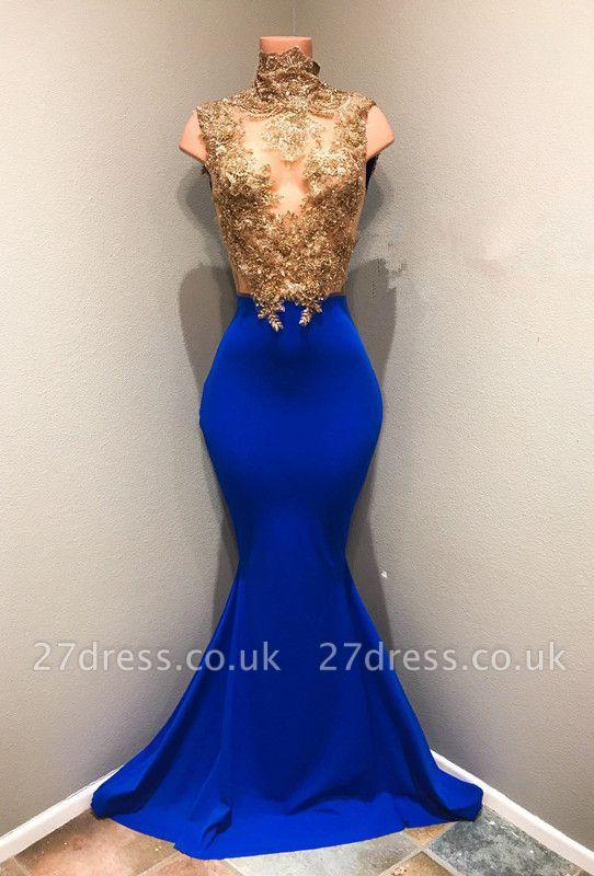 Royal-blue Prom Dress UK, Lace Appliques Evening Dress UK RM0