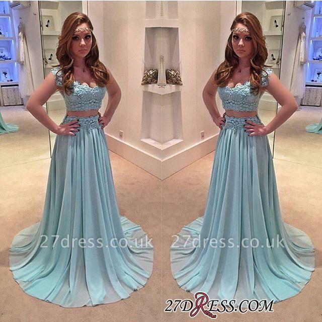 Sweep-Train Two-Piece Chiffon Lace A-line Newest Prom Dress UK