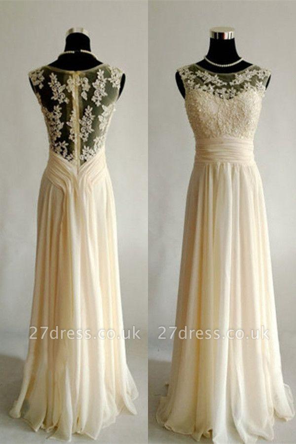 Sexy sleeveless lace appliques prom Dress UK long chiffon